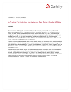A Practical Path to Unified Identity Across Data Center, Cloud and Mobile