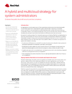 A Hybrid and Multicloud Strategy for System Administrators