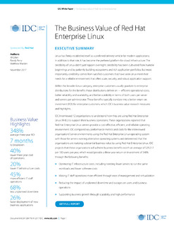 IDC Executive Summary: The Business Value of Red Hat Enterprise Linux