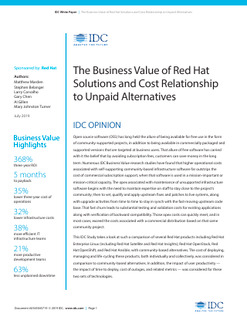 The Business Value of Red Hat Solutions and Cost Relationship to Unpaid Alternatives