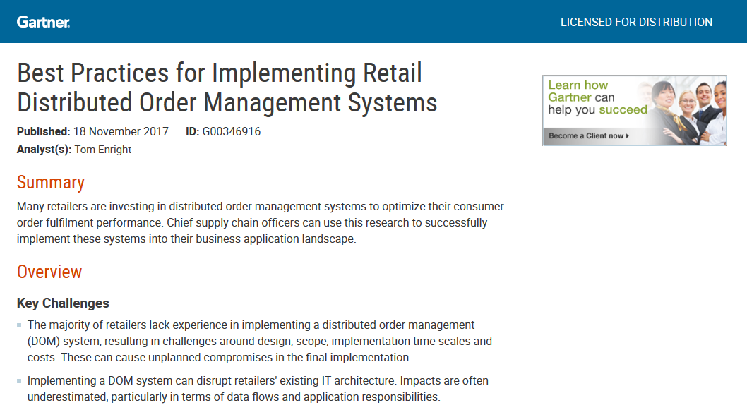 Gartner's Best Practices for Implementing Retail Distributed Order Management Systems