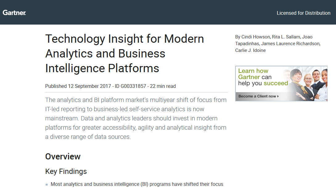 Technology Insight for Modern Analytics and Business Intelligence Platforms