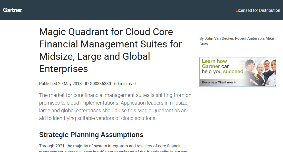 2018 Gartner Magic Quadrant for Cloud Core Financial Management Suites
