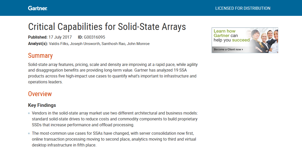 Gartner: Critical Capabilities for Solid-State Arrays