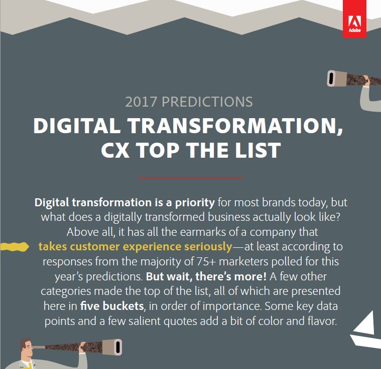 2017 Predictions – Digital Transformation, CX Top The List