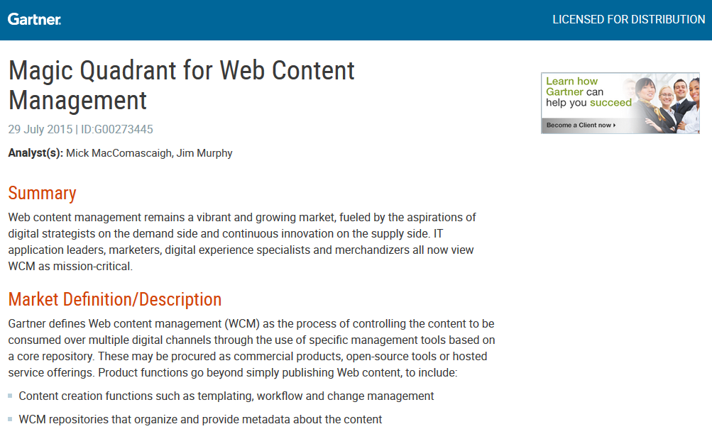 Gartner: Magic Quadrant for Web Content Management