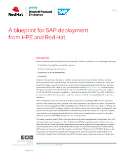 A Blueprint for SAP Deployment from HPE and Red Hat