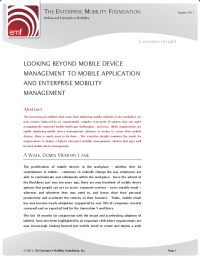 Looking Beyond Mobile Device Management to Enterprise Mobility Management