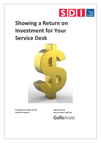 Showing a Return on Investment for your Service Desk