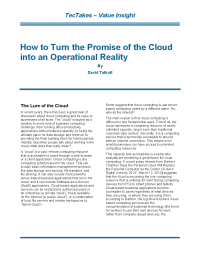 How to Turn the Promise of the Cloud into an Operational Reality