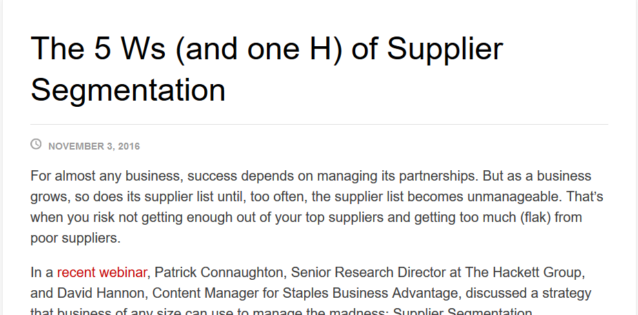 The Five Ws (and One H) of Supplier Segmentation