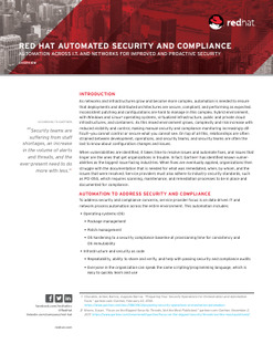 Red Hat Automated Security and Compliance Automation Across I.T. and Networks for Improved and Proactive Security