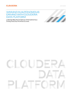 Winning in Autonomous Driving with Cloudera Data Platform