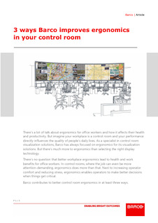3 ways Barco improves ergonomics in your control room