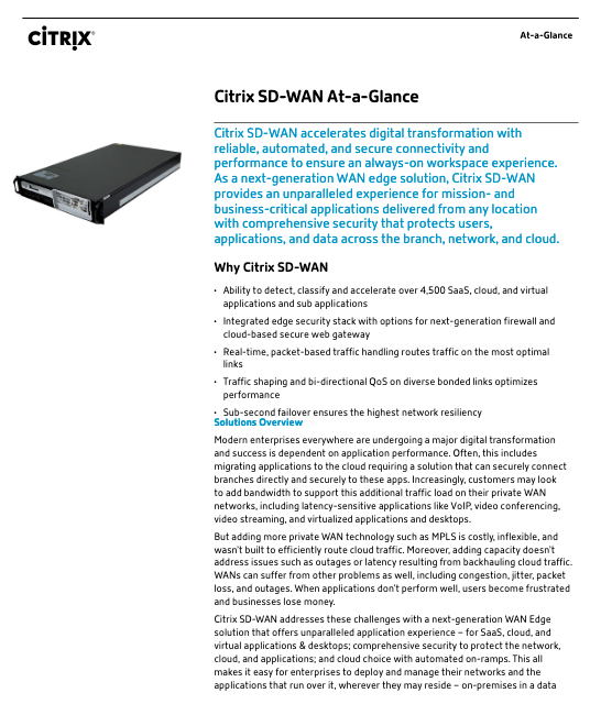 Citrix SD-WAN at a glance