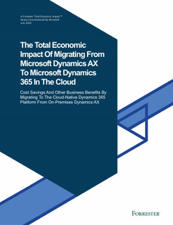 The Total Economic Impact Of Migrating From Microsoft Dynamics AX To Microsoft Dynamics 365 In The Cloud