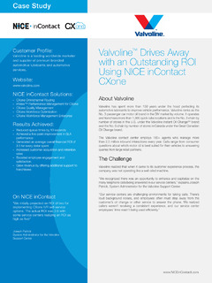 Valvoline Drives Away with an Outstanding ROI Using NICE inContact CXone