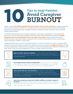10 Tips to Help Families Avoid Caregiver Burnout