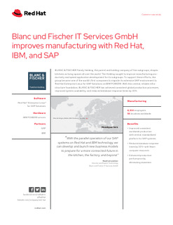 Blanc und Fischer IT Services GmbH Improves Manufacturing with Red Hat, IBM, and SAP
