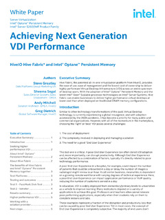 Achieving Next Generation VDI Performance