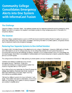 Community College Consolidates Emergency Alerts into One System with InformaCast Fusion