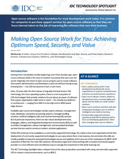 IDC Tech Spotlight: Making Open Source Work for You – Achieving Optimum Speed, Security and Value