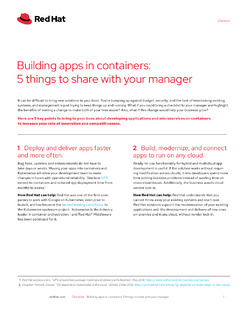 Building Apps in Containers: 5 Things to Share with Your Manager