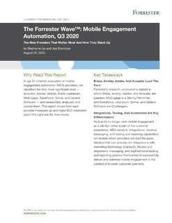 Forrester Wave: Mobile Engagement Automation Q3, 2020