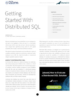 Getting Started With Distributed SQL